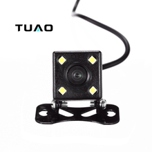 TUAO HD CCD 4 LED Reverse Camera 140 Angle Universal Car Rear view Camera IP67 Waterproof Vehicle Camera for VW Ford Toyota&More