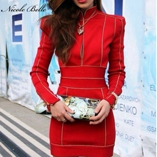 NICOLE BELLE2017 new lady bodycon high collar summer dress sexy long-sleeved bandage dress front zipper celebrity party red dres