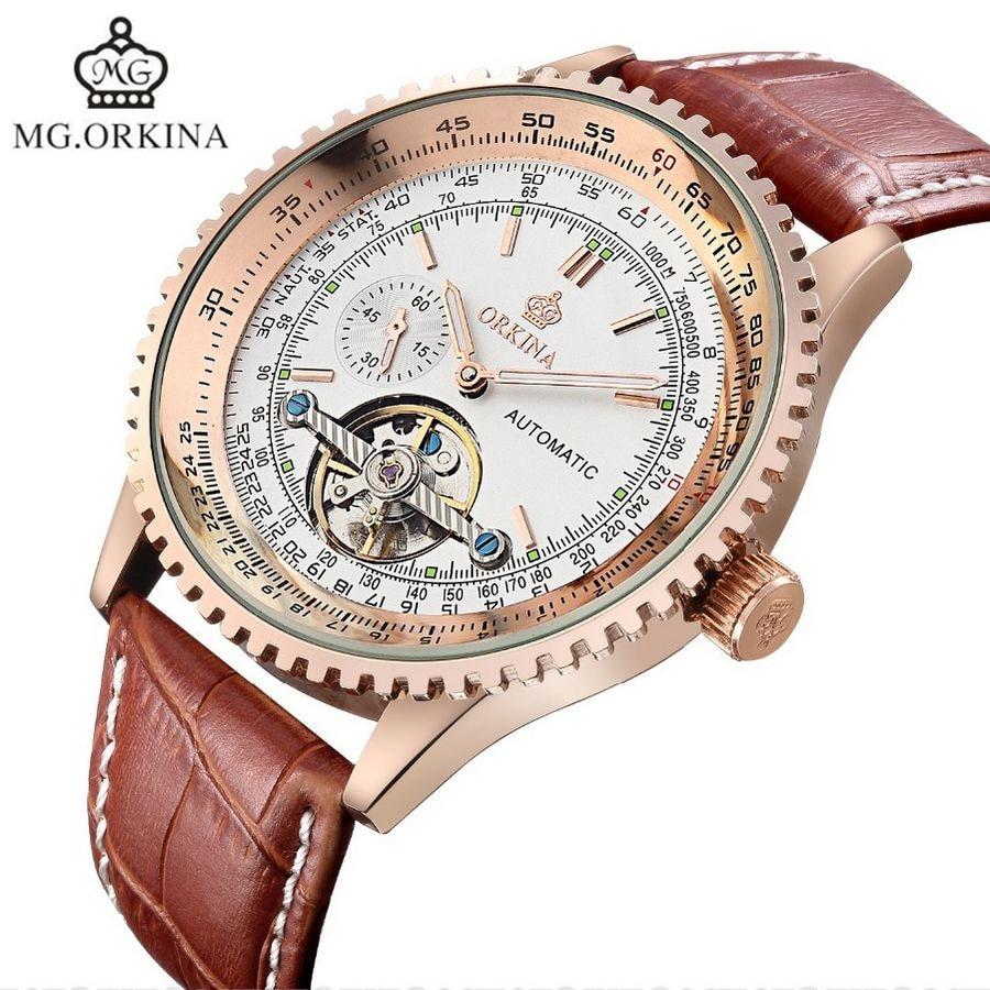 MG.Orkina Luxury Mens Relogio Masculino Tourbillion Auto Mechanical Watch Wristwatches Gift Box Free Ship<br>