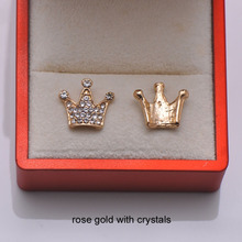 (L0725) Free Shipping 50pcs/lot, 15mmx13mm crown rhinestone embellishment,silver or rose gold plating,flat back,3 styles