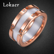 Lokaer Original Design Stainless Steel Ceramic Rings Jewelry Rose Gold Color Mosaic Rhinestone Luxury Wedding Ring For Women