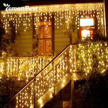 String lights Christmas outdoor decoration 3.5m Droop 0.3-0.5m curtain icicle string led lights 220V Garden Xmas Wedding Party(China)