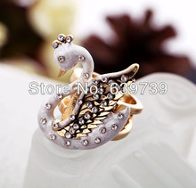 Elegant Stone Setting Swan Rings Men