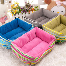 Good Quality Bright Ranbow Color Omvre Strip Sofa Bed Animal Care Puppy Dog Mat Dog House Luxury Pet Canvas Dog Bed Cheap Price(China)