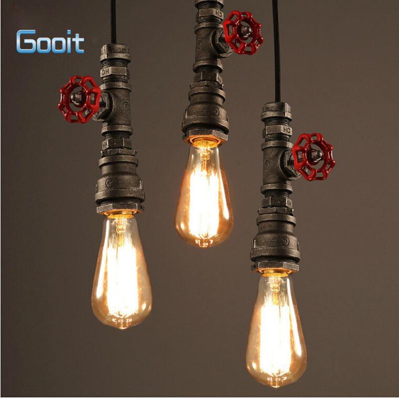 American Countryside Edison Industrial Retro Bar Table pendant lights Indoor Iron pendant lamp Water Pipe light E27<br>