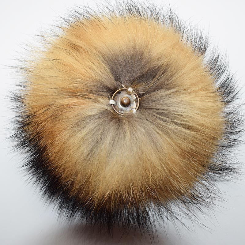 raccoon fur pompom natural back 2