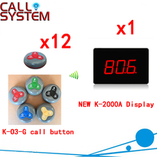Electronic Table Buzzer Wireless Waiter Call System Restaurant Electronic Buzzer Bell Wireless Ycall(1 display+12 call button)