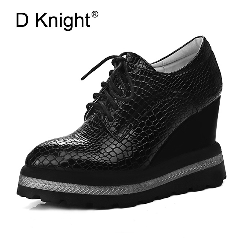 2017 Creepers Platform Casual High Heels Shoes Woman Lace-Up Oxfords Spring Pumps Fashion Wedges Black White Women Shoes Size 42<br>