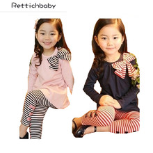 2017 Autumn Girls Clothes Children Clothing set Girls Bow Cute Suit Kids Top T Shirt +stripe Pants Leggings bay Casual Suit(China)