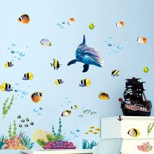 &% Underwater Dolphin Fish Aquatic Bubble Wall Sticker Decal Kids Room Living Room Home Decor Vinyl 3D Chinese Wallpaper Poster