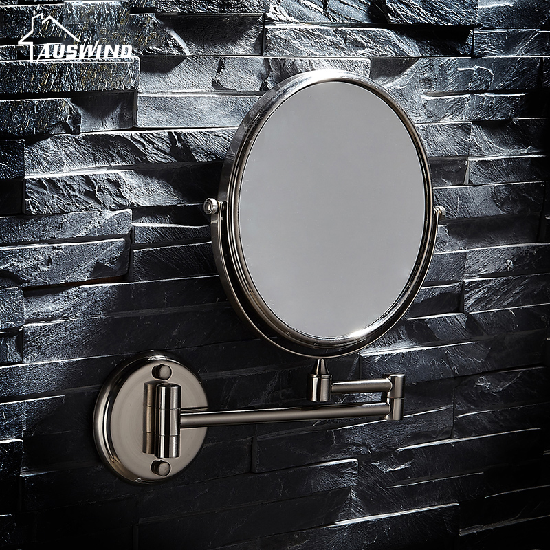 Antique brass Bath Mirrors 3 x Magnifying Mirror of Bathroom Makeup Mirror Folding Shave 8 Dual Side brushed silver Wall Round<br>