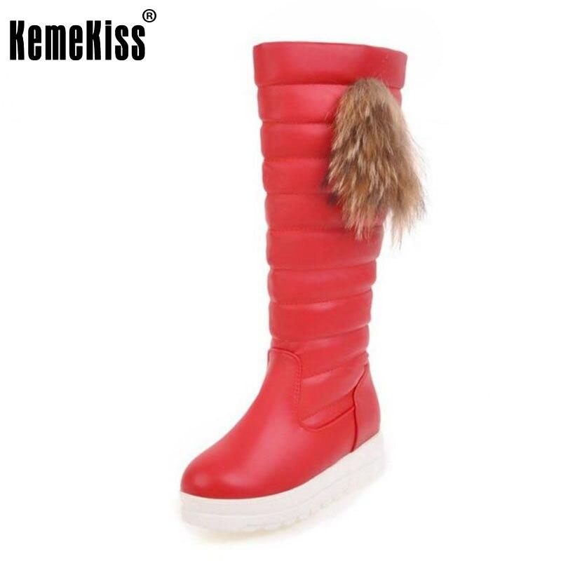 KemeKiss Size 33-43 Women Half Short Snow Boots Wedges Boots Thick Fur Shoes Women Winter Boots Long Botas Women Footwears<br>