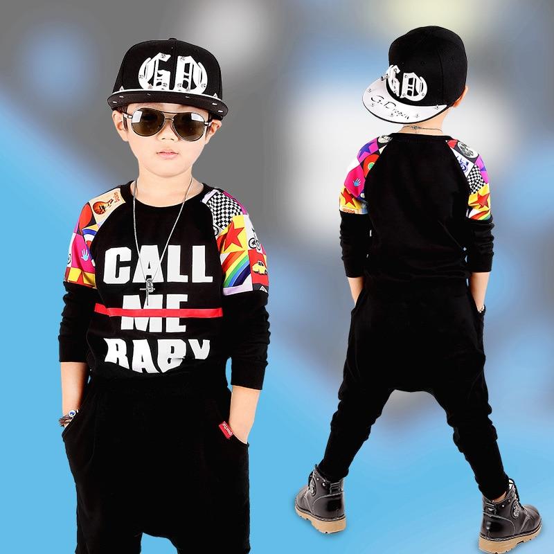 kids hip hop clothing 2pcs/set Boys Autumn Clothes Childrens Clothing Set Haren Pants Boy Sports Patchwork Letter Set<br><br>Aliexpress