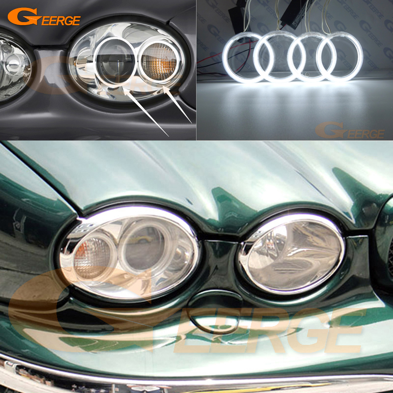 For JAGUAR X-Type 2002-2008 Headlight Excellent 4pcs rings Ultra bright illumination CCFL Angel Eyes kit Halo Ring<br>