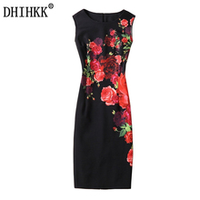 DHIHKK 2017 New Sexy Women Elegant Summer  Dresses Women O Neck Red rose Print Dresses Sexy Sheath Dress Party Dresses Vestidos