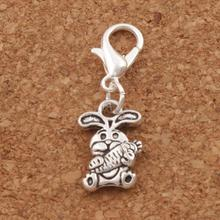 Easter Bunny Rabbit Carrot Charm Beads Clasp European Lobster Trigger Clip On 10x27.5mm 100PCS Antique Silver C059(China)
