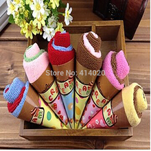 Wholesale   20*20CM Double Color  Ice Cream  Cake Towel  Party Decor Small Wedding Invitation Gifts Party Giveaways