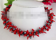 "2strands 19"" 8mm baroque black pearl coral necklace"
