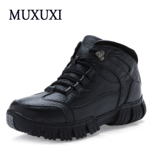 2017 Autumn and Winter Genuine Leather Men Work boots  Mens Fashion Model  Causal outdoor boots warm snow boots purs