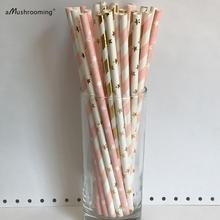(25 pieces/lot) Gold and Pink Twinkle Little Star Paper Straws First Birthday At-home Party Bachelor Surprise Party Supplies