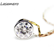LASAMERO Halo 1.5CT Round Cut Simple Bezel Set Solitaire 14k White Gold Moissanites Pendant Fine Jewelry Necklace Chain(China)