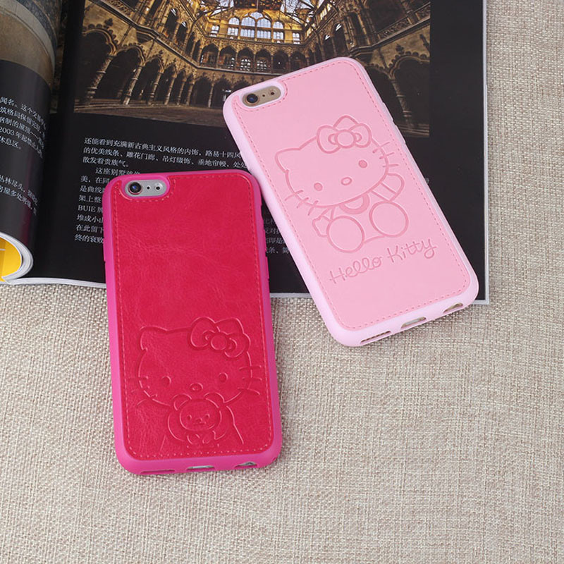 JiBan Pu Leather Cute Cartoon Hello Kitty Case For iphone 6 6s 6plus 7 7 plus Pink Red Black White Lovers TPU Phone Case(China)
