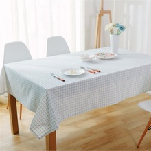 1Ppcs Blue White Plaids Pattern Cotton linen tablecloth Wedding Party Table cloth Cover Home decor decoration Tablecloths 44093(China)
