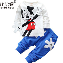 Children Clothing Set 2018 spring Mickey Minnie Cartoon Boys Girls T shirts Tops + Pants Suit Baby Kids Clothes Sets tracksuit(China)