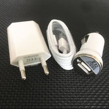 TOP quality White eu USB Wall charger adapter + usb car charger + 8 pin charging cable charger for iphone 5 5 s 6 6s plus 7 8 se