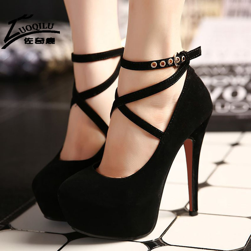 2017 Sexy Women Shoes High Heels Pumps Platform Shoes Wedge Ladies Wedding Shoes Woman Black blue Extreme High Heels<br><br>Aliexpress