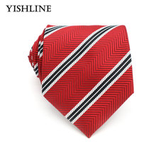 XT111 Mens Accessories 8cm Red Black Stripes 100% Silk Ties Men Brand Neckwear Business Wedding Grooms Necktie for Suit Shirt(China)