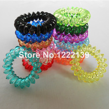 200pcs/lot New 3.5CM Sharp Brim Telephone Wire Line Cord Transparent Clear Hair Ring Gum Elastic Hair Band Girls Hair Scrunchy