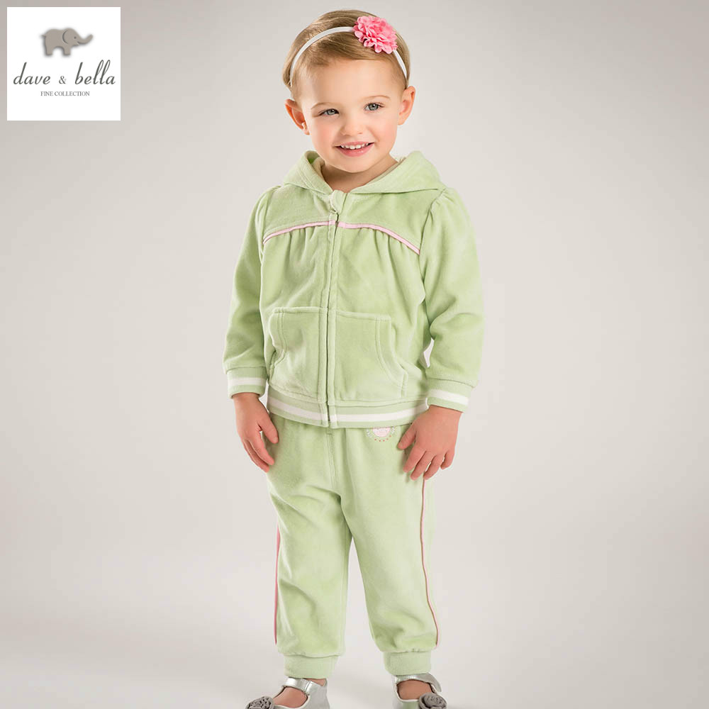 DB4809 dave bella spring baby girls sports clothing sets kids green  clothing sets with ruffle  girl boutique sets <br>