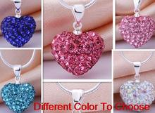 high quality mixed rhinestone fashion multicolor heart Silver Plated snake chain Crystal Shamballa Necklace For Women men.(China)