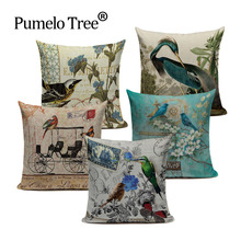 Bird Animal Tree Retro Style Cushion Cover Cute Throw Pillow Cover Car Sofa Chair Living Room Home Decorative Custom Pillow Case(China)