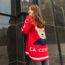 long red christmas sweater winter pullover kawaii jumper female casual oversized thick knit top with letter cartoon bear print(China)