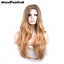 dark roots blonde brown ombre hair wigs heat resistant synthetic wigs long wavy wig woman black gray wig gradient WoodFestival