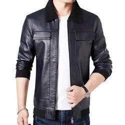 Мужская Осенняя Новая повседневная мотоциклетная куртка с карманами из искусственной кожи, мужская куртка с флисовым воротником, Jaqueta De Couro ...