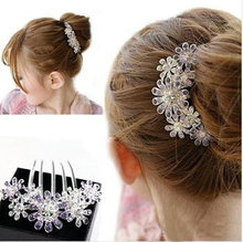Summer Style Exquisite Full Colors Crystal Rhinestone Petal Tuck Comb Women Flower Hair Pin Hair Clip Headwear Accesories(China)