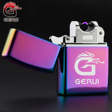 GERUI Laser Make Logo USB Windproof Pulsed Arc Lighter Electronic Rechargeable Side Switch Torch Lighter Cigarette Accessories(China)