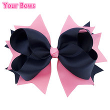 1PC 5.5Inches Kids Girls Hair Clip Bows Pink/Navy Solid Bowknot Hairpins Grosgrain Ribbon Bows Hair Accessories