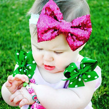 120pcs/lot Multi Colors Baby Sequins Bow Hair Hoop Stretch Knot Bow Cotton Headbands Baby Lace Bow Headbands Infant Accessory(China)
