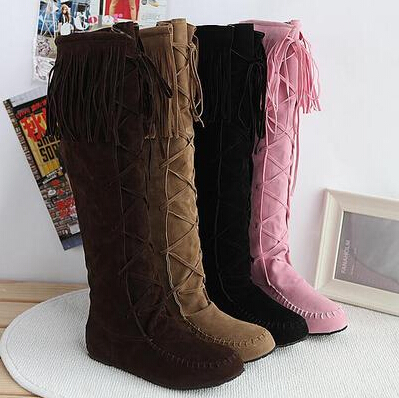 AA224New Fashion Women Multiple Colors Thread Tassels Fashion-Knee-High Boots/Brand Desinger Women Boots Black/Brown/Yellow/Pink<br><br>Aliexpress