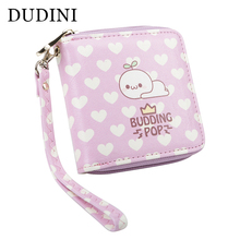 DUDINI Korean Style Wallet Short Section Hasp Women Purse Cute Cartoon Pattern Multifunction Square Small Card Holder
