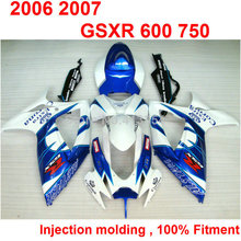 injection bodywork fairings for Suzuki GSXR 600 750 K6 K7 06 07 white blue fairing kit GSXR750 2006 2007 NB12