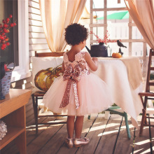 Nacolleo Top Brand Baby Toddler Girls Party Wedding Flower Dress Backless Sequined Children Vestido Birthday Pageant Ball Gown