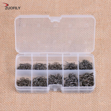 ZUOFILY 600Pcs/lot Carbon Steel Fishing Hook 3#-12# 10 Size Barb Fishhook Pesca Jig Head Hooks With Hole Carp Fishing Tackle Box