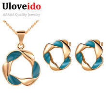 Uloveido Women's Jewelry Set Rose Gold Color Necklace and Earrings African Jewelry Sets Bijoux Mariage Allibaba Aros Chain T258