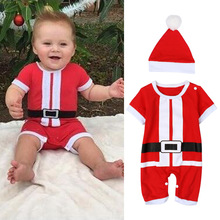 Christmas Gifts Baby rompers 2017 newborn short sleeve baby clothes sets New year red One-piece jumpsuit and hat sets Costumes(China)
