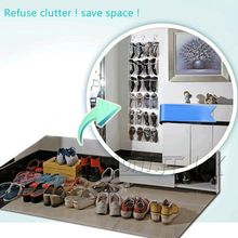24 Pockets Clear Over Door Hanging Shoe Rack Hanger Shoes Storage Tidy Organizer Home Decor(China)